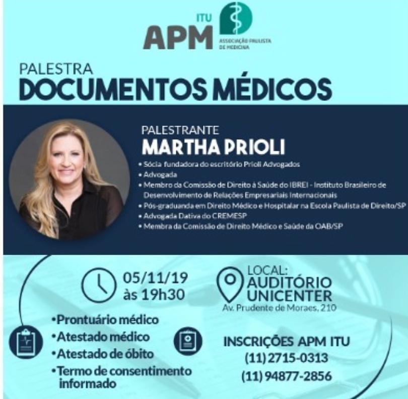 MARTHA PRIOLI MINISTRA PALESTRA NA ASSOCIAÇÃO PAULISTA DE MEDICINA DE ITU